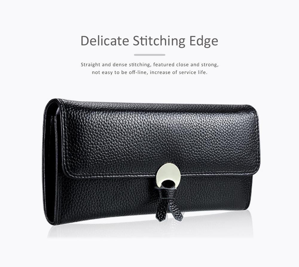 Genuine Leather Folio Card Holder Purse with Solid Oxhide Buckle, Portable Long Clutch Bag 4