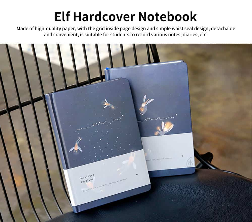 Beautiful Elf Hardcover Notebook, Cute Grid Creative Retro Notebook, with Simple Waist Seal Design 0