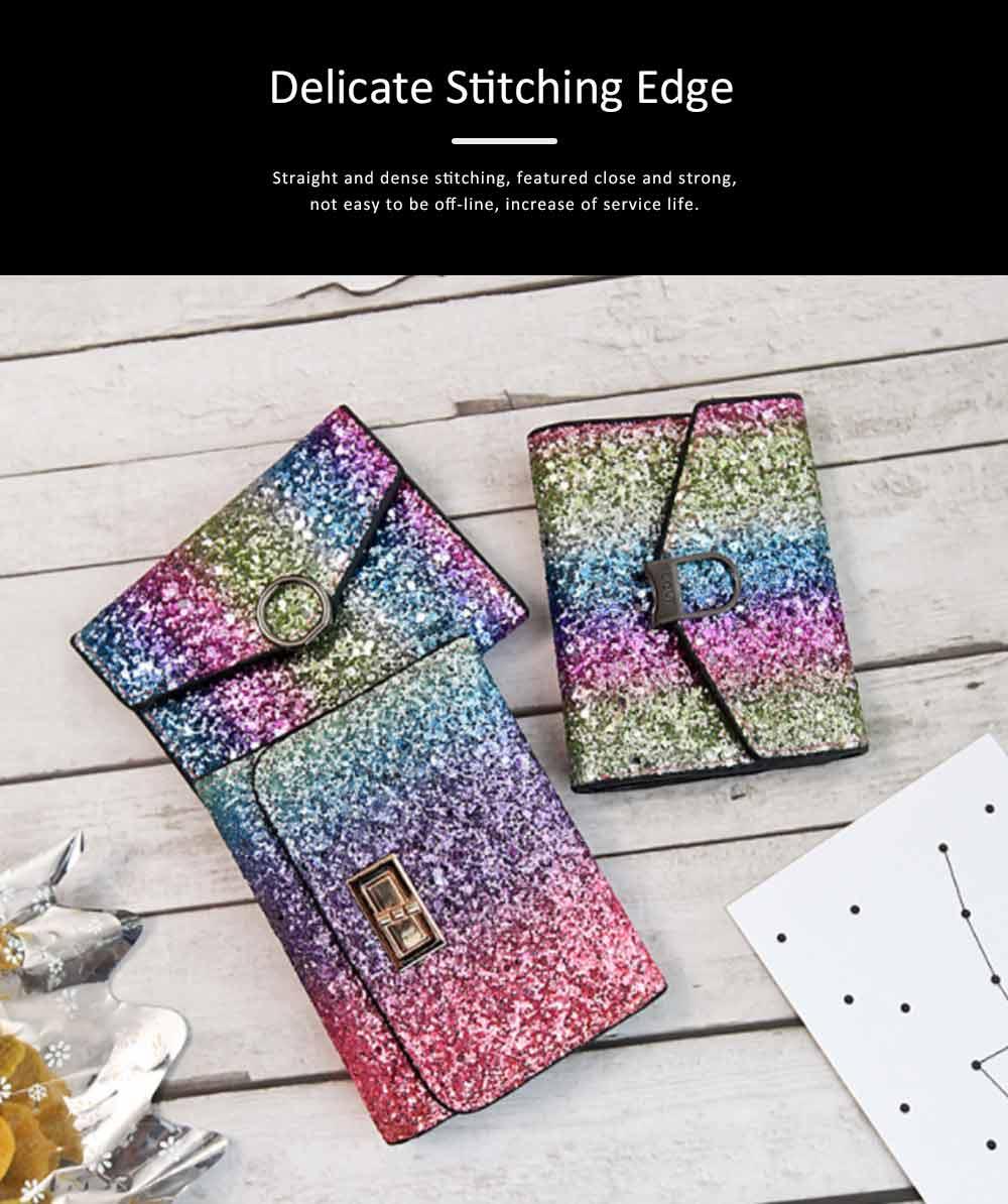 Chic Short Purse Folio Mini Handbag Sequins Colorful 3 Slots PU Leather Rainbow Clutch Bag Evening Party Accessories 6