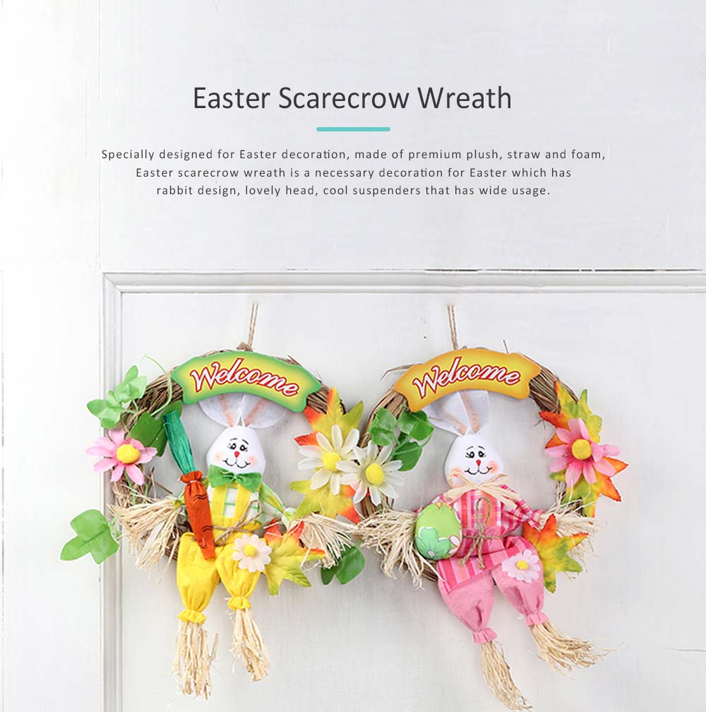 Easter Scarecrow Wreath with Rabbit Design for Kids, Creative DIY Handmade Wreath 0