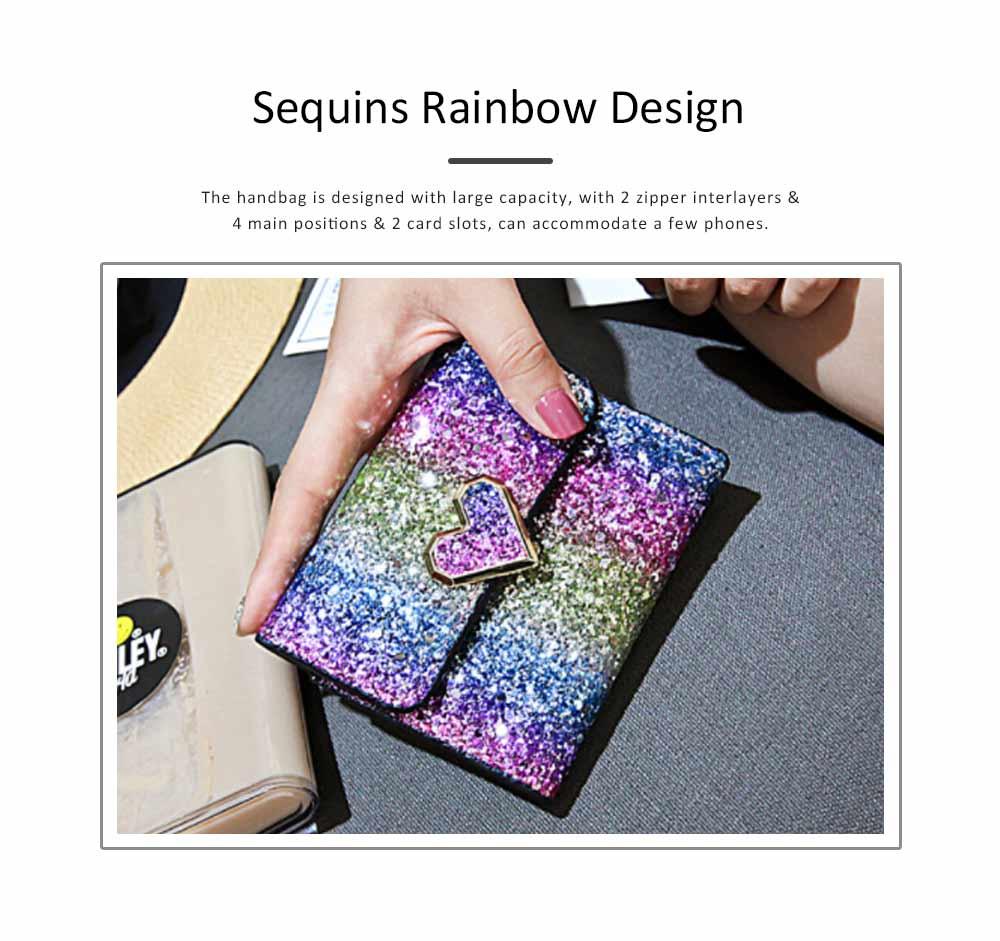 Chic Short Purse Folio Mini Handbag Sequins Colorful 3 Slots PU Leather Rainbow Clutch Bag Evening Party Accessories 1