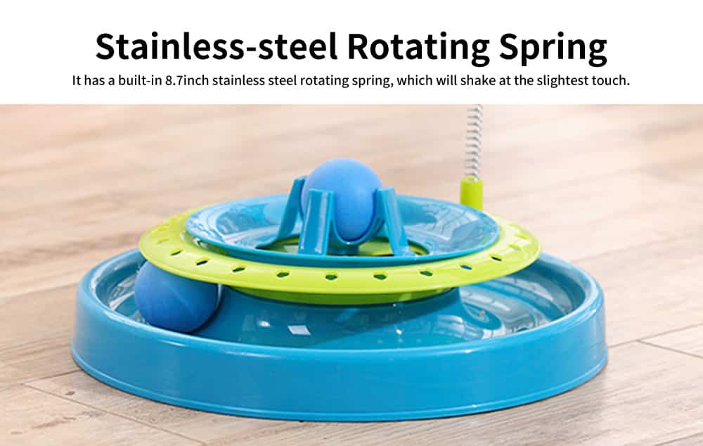 Stainless-steel Rotating Spring Cat Toy, Environment-friendly PP Material Pet Toy, with A Spring Mouse 360° Shaking 3