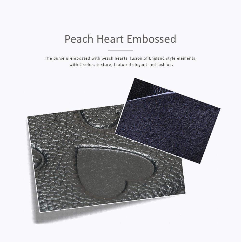 Soft Genuine Leather Purse with Peach Heart Embossed, Oxhide Buckle Short Purse Women Clutch with Card Holder 1