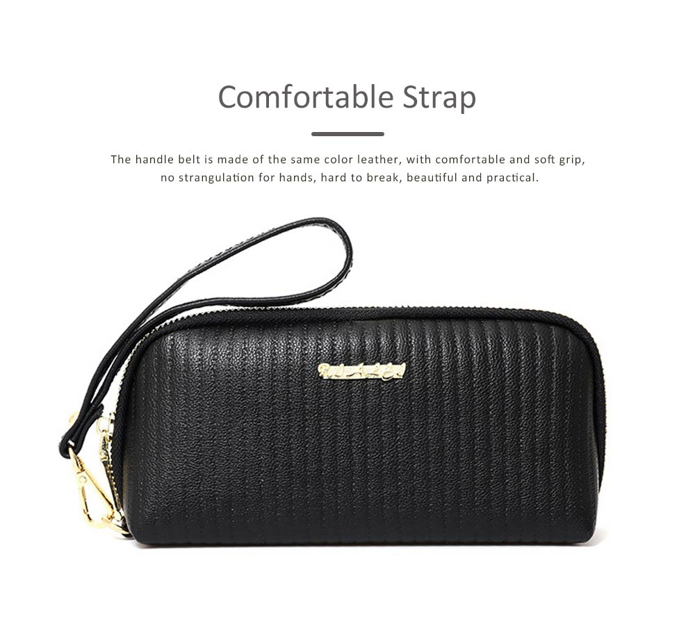 Women Clutch Solid PU Leather Strapped Long Purse Phone Holder Large Capacity Changes Purse Mini Hanging Bag 5