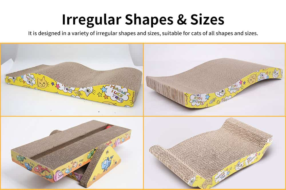 Multi-rule Cat Scratcher, A Variety of Irregular Shapes and Dizes Pet Scratcher, with Interesting Cat Patterns 3