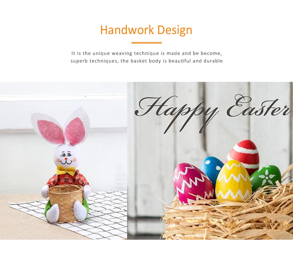 Easter Bunny DIY Handmade Basket, Bamboo Woven Rattan Weaving Basket with Cartoon Design for Storage 1