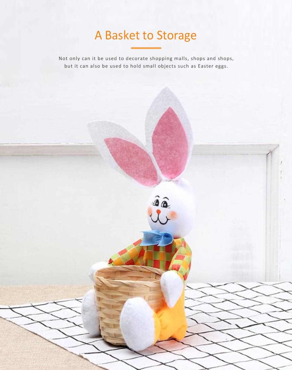 Easter Bunny DIY Handmade Basket, Bamboo Woven Rattan Weaving Basket with Cartoon Design for Storage 4