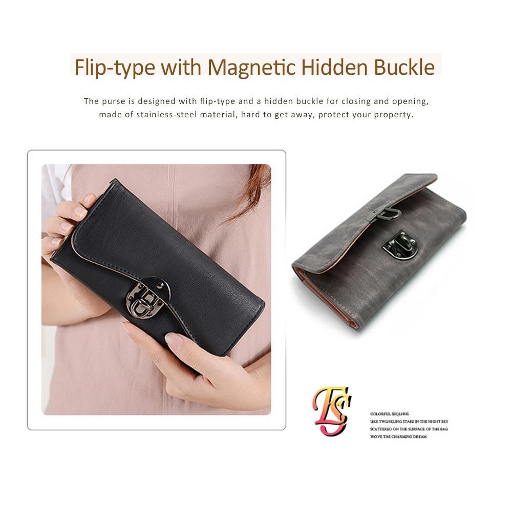 Long Clutch Women Creases Purse, Matte PU Leather Buckle Card Holder Elegant Flip-type Clutch Bag 3