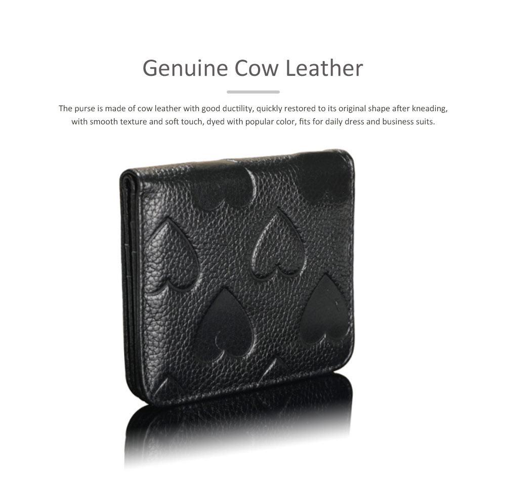 Soft Genuine Leather Purse with Peach Heart Embossed, Oxhide Buckle Short Purse Women Clutch with Card Holder 2
