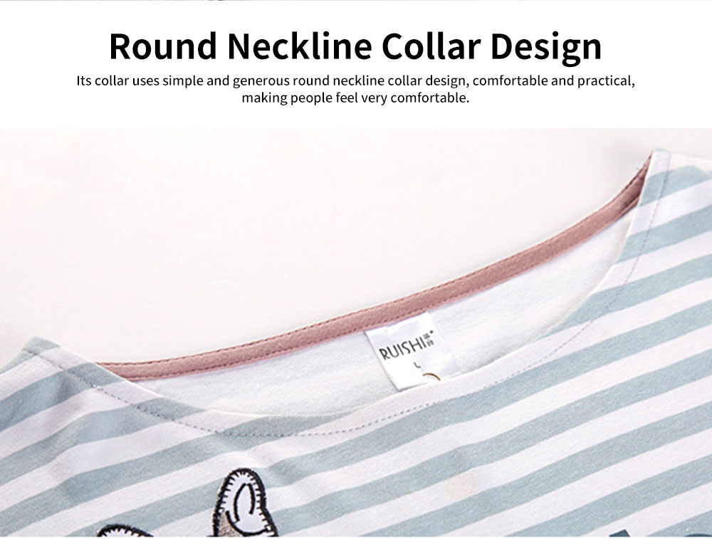Cotton Long-sleeve Striped Couple Pajamas, Round Neckline Collar Tracksuit Suit for Autumn, Winter 2019 2