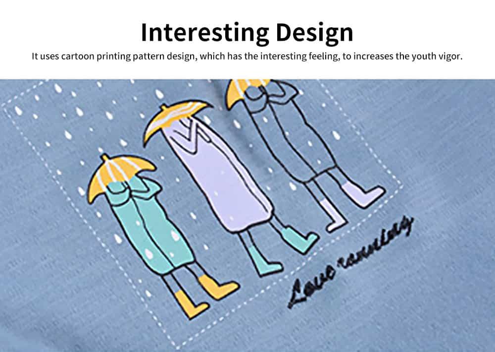 Cartoon Long-sleeved Couple Pajamas, Bamboo Nodular Cotton Round Neckline Collar Tracksuit 3