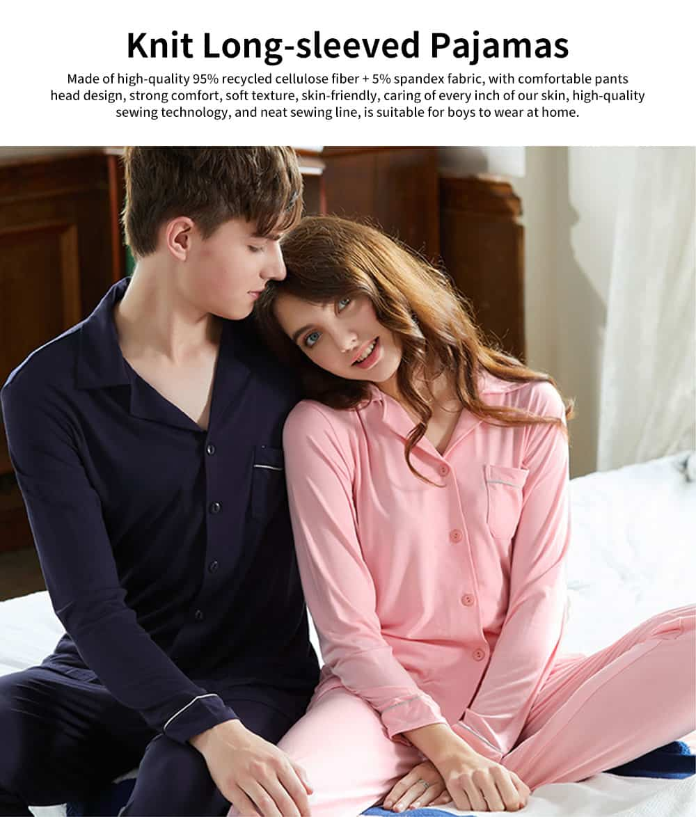 Knit Long-sleeved Pajamas for Men and Women, Soft Texture Cotton Tracksuitwith Bilateral Pocket Design 0