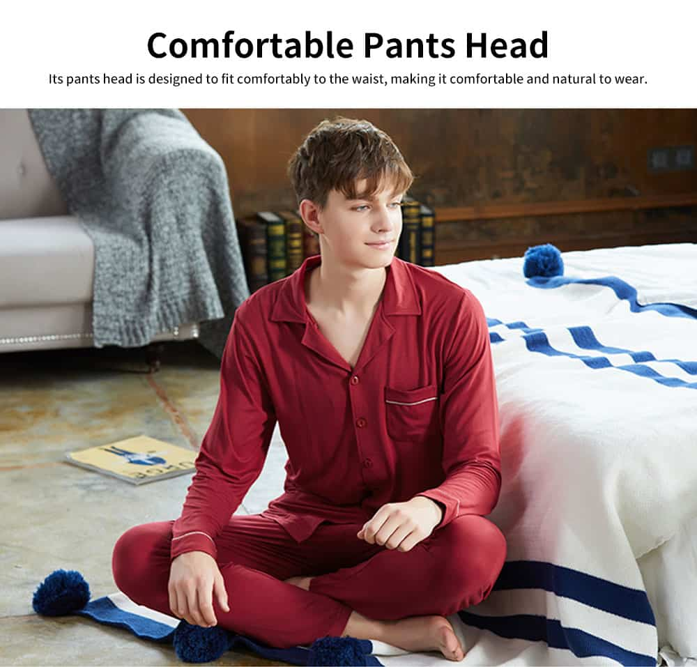 Knit Long-sleeved Pajamas for Men and Women, Soft Texture Cotton Tracksuitwith Bilateral Pocket Design 1