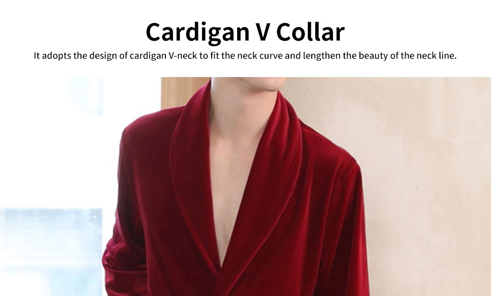 Men's Velvet Long-sleeve Pajamas, Cardigan V Collar Robe Trousers, with Two-piece Suit, Autumn Winter 1