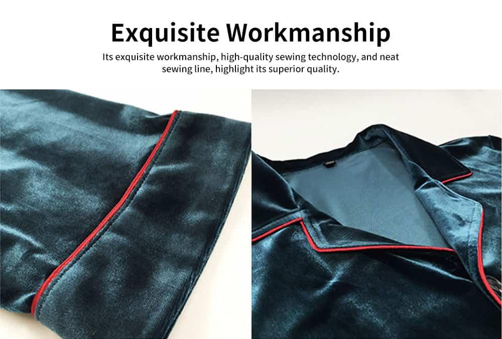 Men's Long-sleeved Pajamas Suit, Velvet Fabric Sleepwear for Men Two-piece Winter, Autumn 2019 4