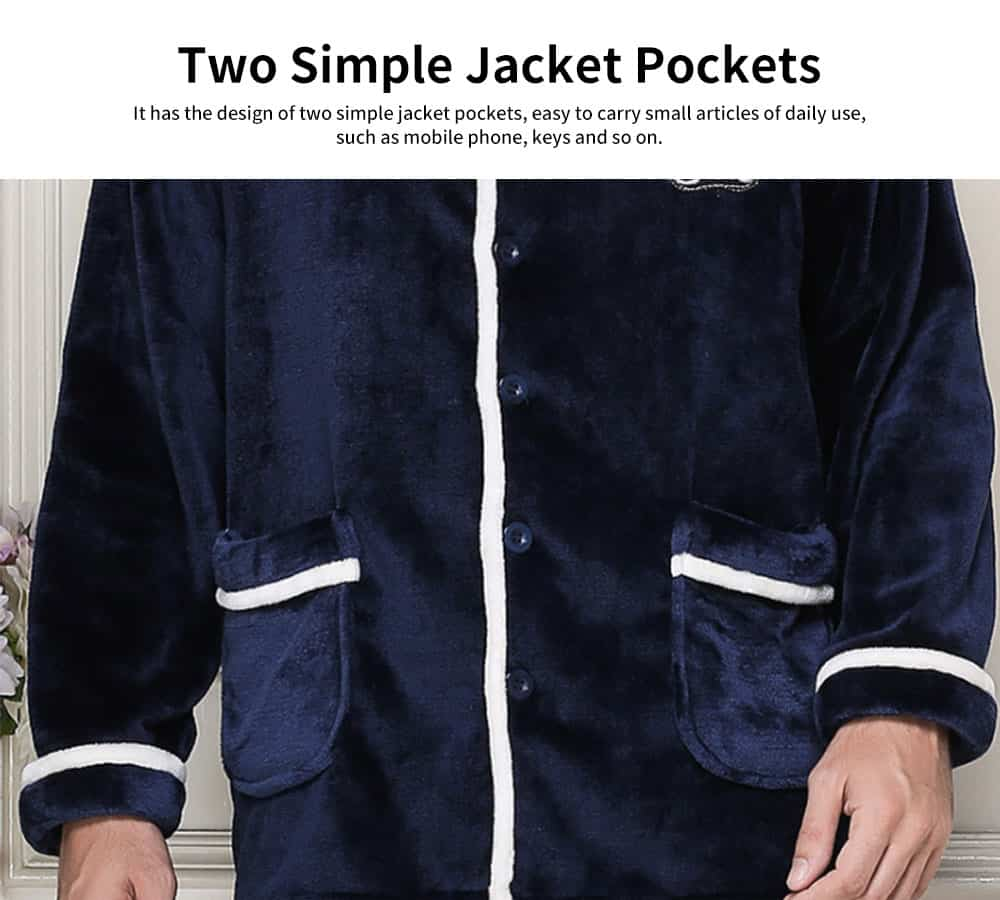 Soft Texture Men's Flannel Pajamas, Simple Thick Coral Fleece Long-sleeved Tracksuitwith Two Simple Jacket Pockets 3