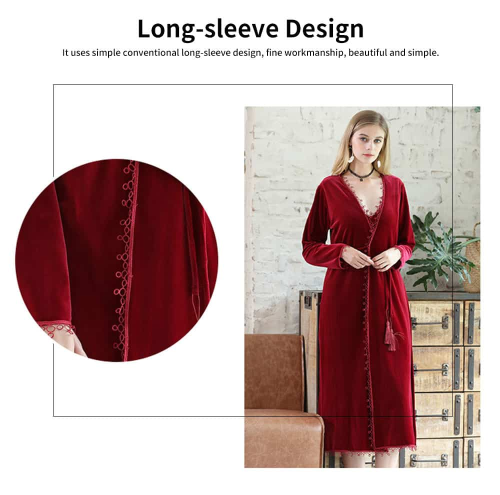 Soft Velvet Fabric Robe, Ladies Long Thick Pajamas, with Sexy V Collar and Point Around Lace Design 5