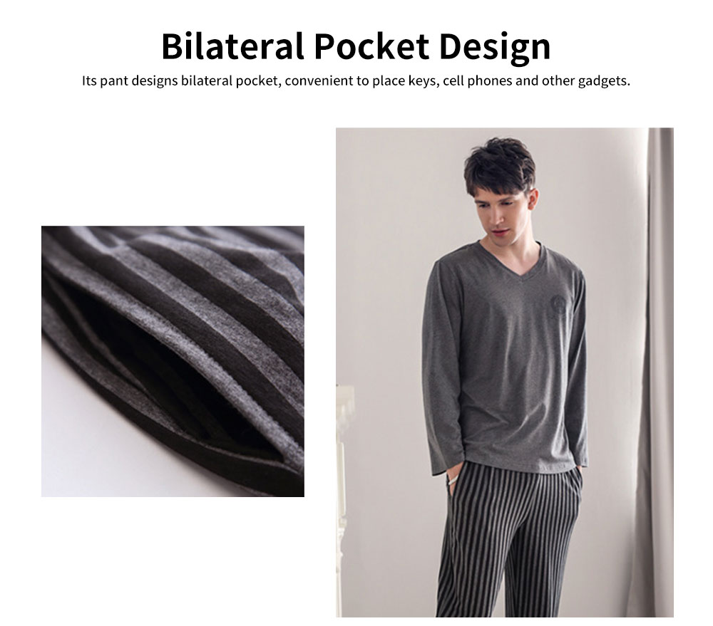 Men's Long-sleeved Striped Pajamas, Mens Casual Loose Thin Tracksuit, with Bilateral Pocket Design 2