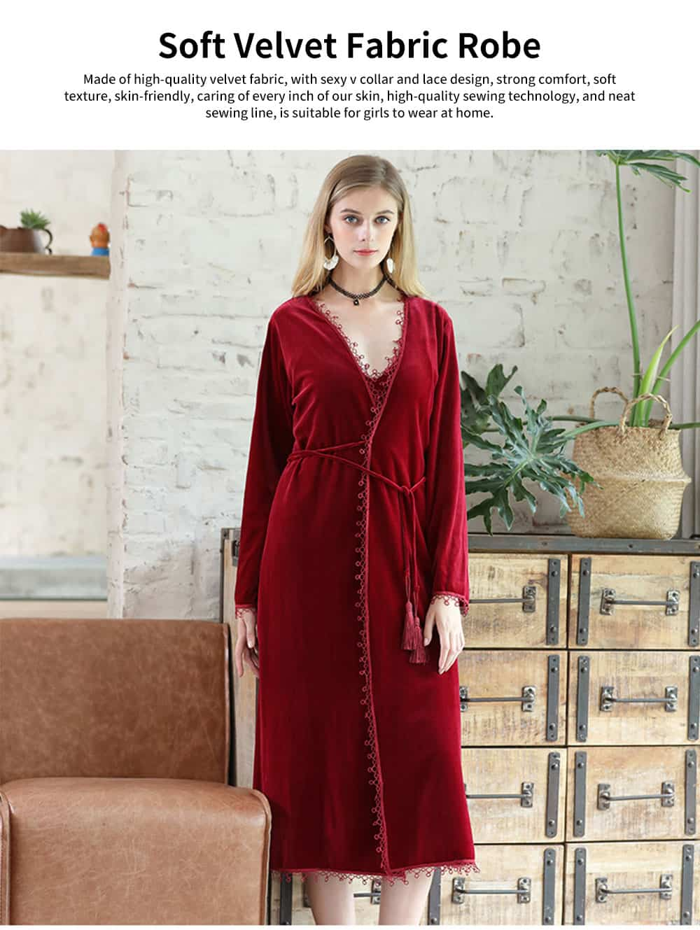 Soft Velvet Fabric Robe, Ladies Long Thick Pajamas, with Sexy V Collar and Point Around Lace Design 0