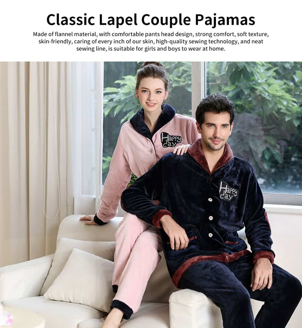 Flannel Fabric Classic Lapel Couple Pajamas, Soft and Comfortable Tracksuit Suit for Men and Women, Two-piece Suit 0
