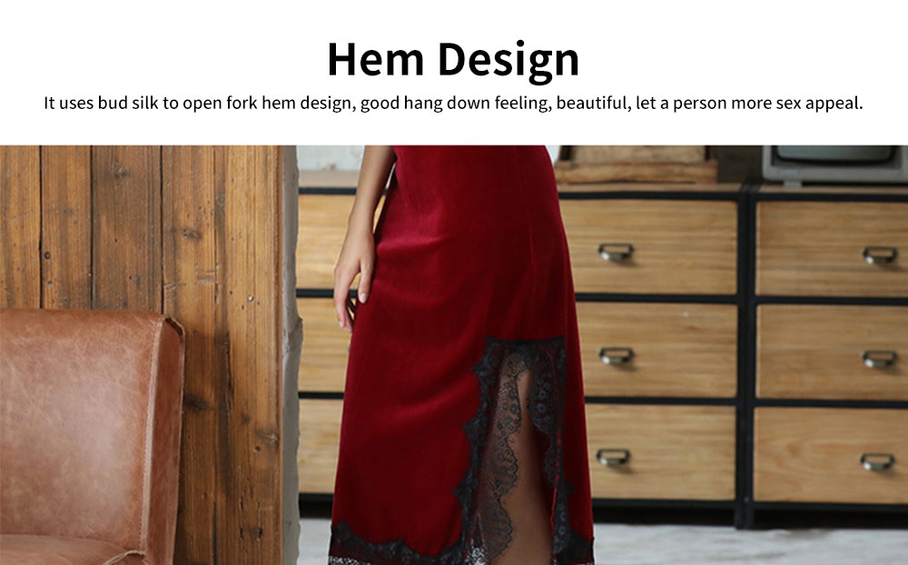 Breathable Soft Gold Velvet Pajamas Ladies Long Lace Sling Slit Nightdress with Bare Back Design for Winter 6