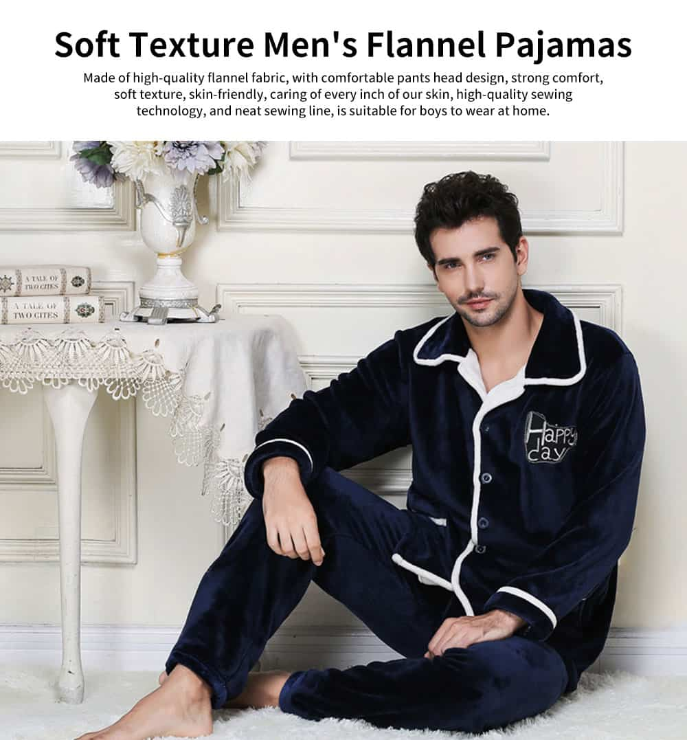 Soft Texture Men's Flannel Pajamas, Simple Thick Coral Fleece Long-sleeved Tracksuitwith Two Simple Jacket Pockets 0