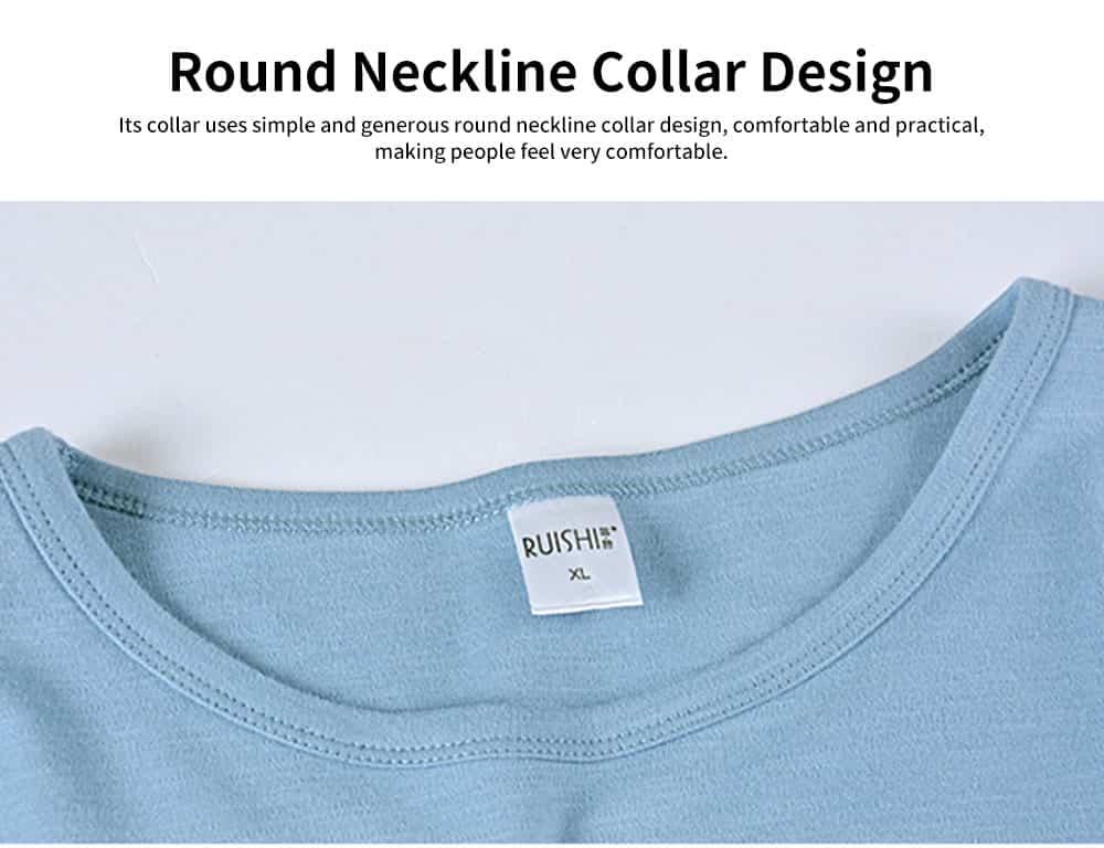 Cartoon Long-sleeved Couple Pajamas, Bamboo Nodular Cotton Round Neckline Collar Tracksuit 5