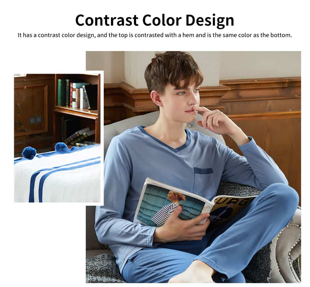 Fashion Y-type Collar Men's Cotton Long-sleeved Pajamas, Contrast Color Comfortable Knit Tracksuit 3