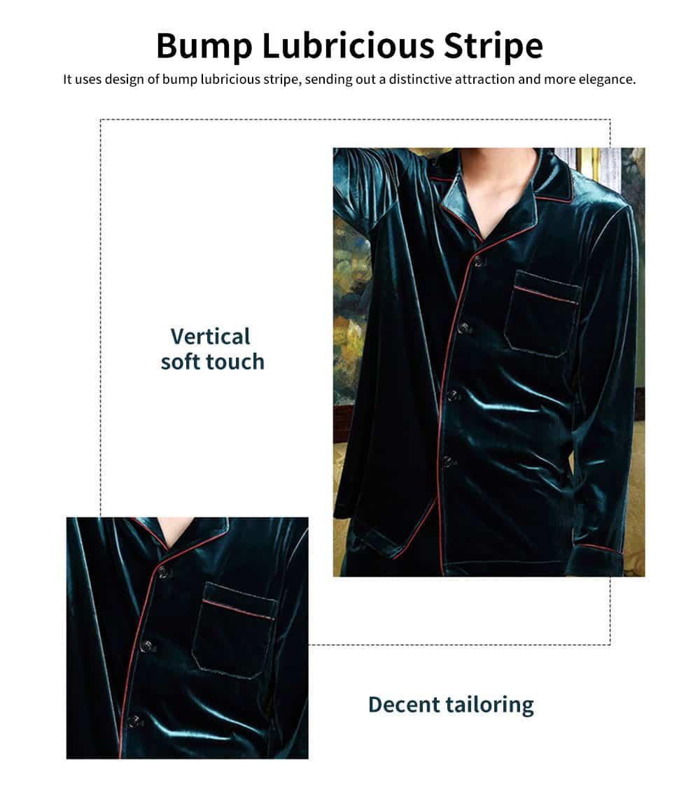 Men's Long-sleeved Pajamas Suit, Velvet Fabric Sleepwear for Men Two-piece Winter, Autumn 2019 5