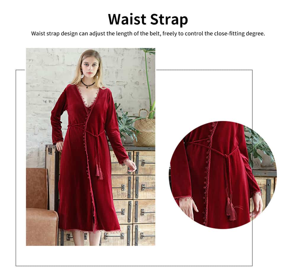 Soft Velvet Fabric Robe, Ladies Long Thick Pajamas, with Sexy V Collar and Point Around Lace Design 4