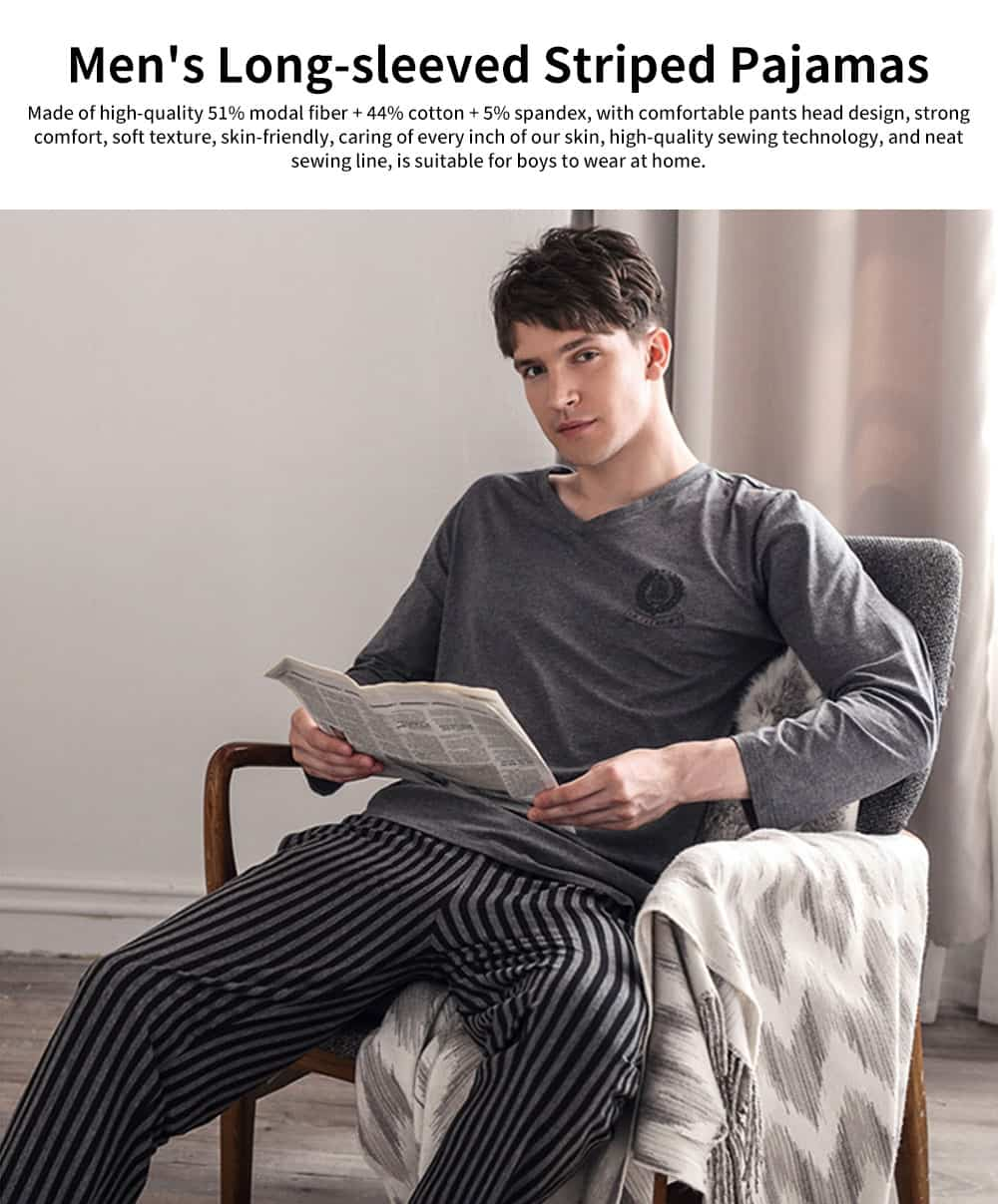 Men's Long-sleeved Striped Pajamas, Mens Casual Loose Thin Tracksuit, with Bilateral Pocket Design 0