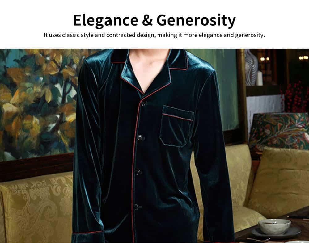 Men's Long-sleeved Pajamas Suit, Velvet Fabric Sleepwear for Men Two-piece Winter, Autumn 2019 2