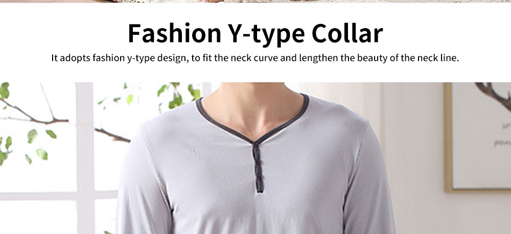 Fashion Y-type Collar Men's Cotton Long-sleeved Pajamas, Contrast Color Comfortable Knit Tracksuit 1