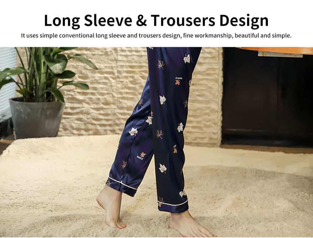 Thin Printed Long-sleeved Trousers Pajamas Set, High-quality Imitation Silk Skin-friendly Tracksuit 3