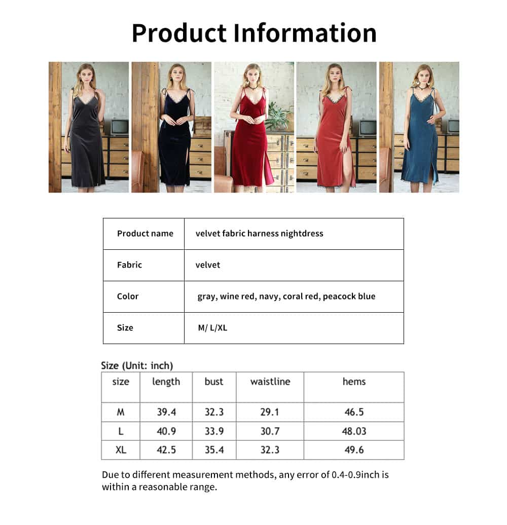 High-quality Velvet Fabric Harness Nightdress, Female Bare Back Sexy Lace V-neck Pajamas, with Shoulder Strap Design 6