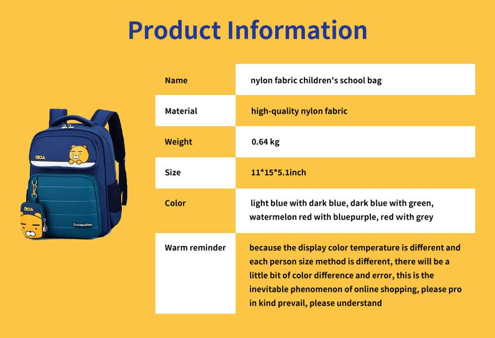 High-quality Nylon Fabric Children's School Bag, Kindergarten Baby Backpack, with Comfortable Hand 7