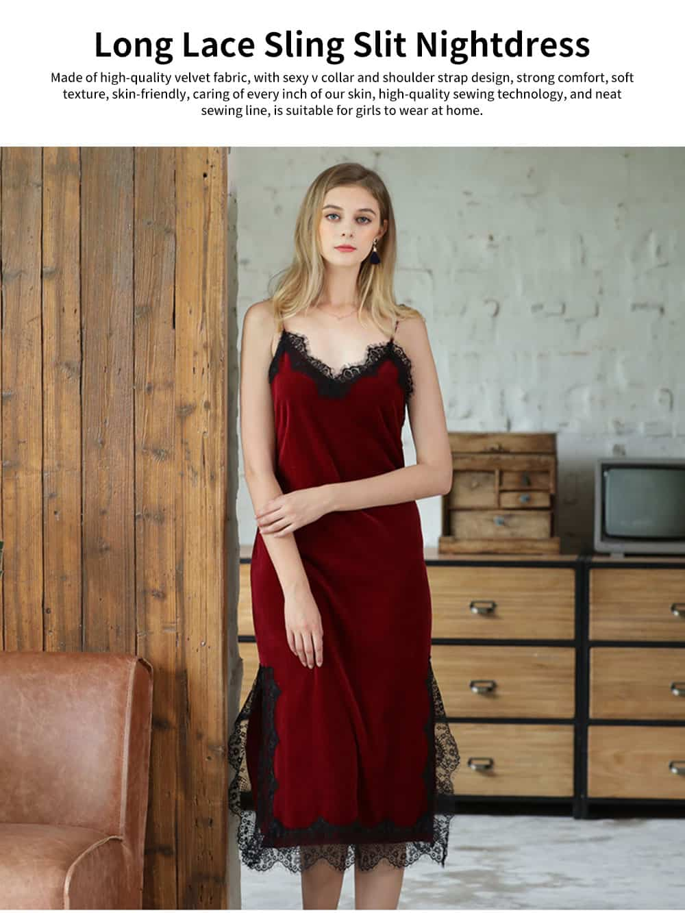 Breathable Soft Gold Velvet Pajamas Ladies Long Lace Sling Slit Nightdress with Bare Back Design for Winter 0