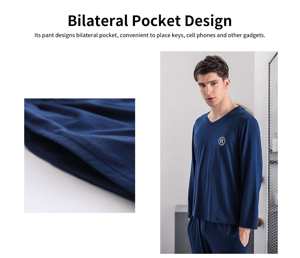 Autumn Long-sleeved Thin Casual Men's Sleepwear, Soft Texture Youth Tracksuit, with Bilateral Pocket Design 4