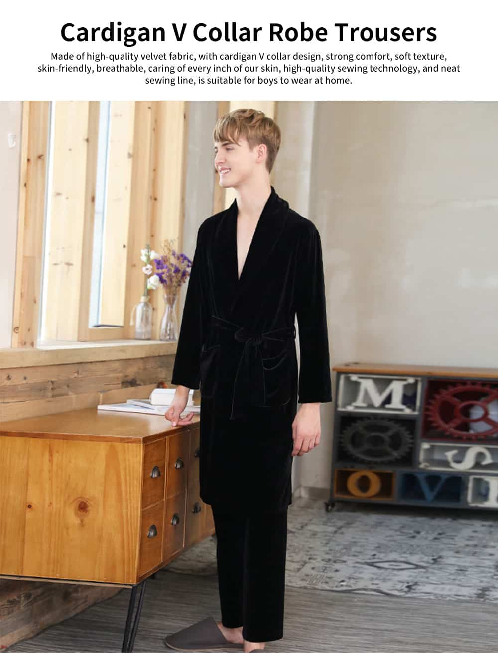 Men's Velvet Long-sleeve Pajamas, Cardigan V Collar Robe Trousers, with Two-piece Suit, Autumn Winter 0