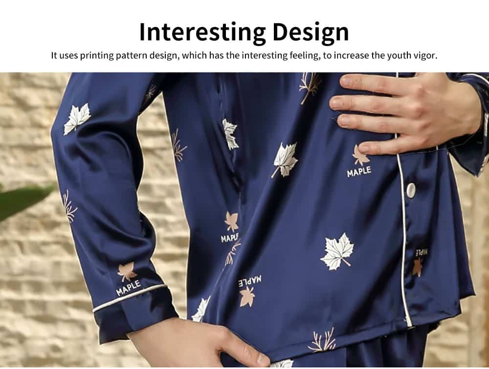 Thin Printed Long-sleeved Trousers Pajamas Set, High-quality Imitation Silk Skin-friendly Tracksuit 4