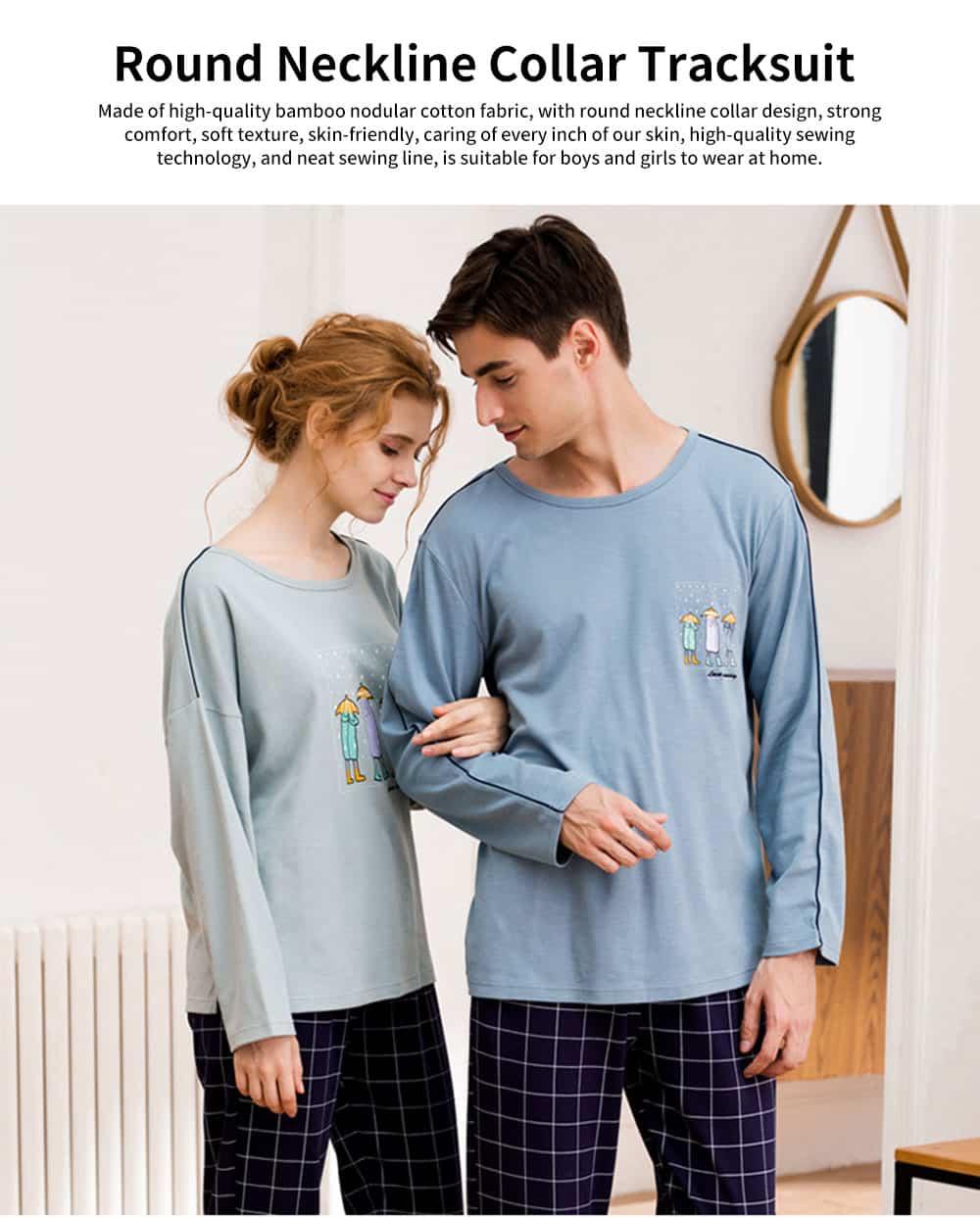 Cartoon Long-sleeved Couple Pajamas, Bamboo Nodular Cotton Round Neckline Collar Tracksuit 0