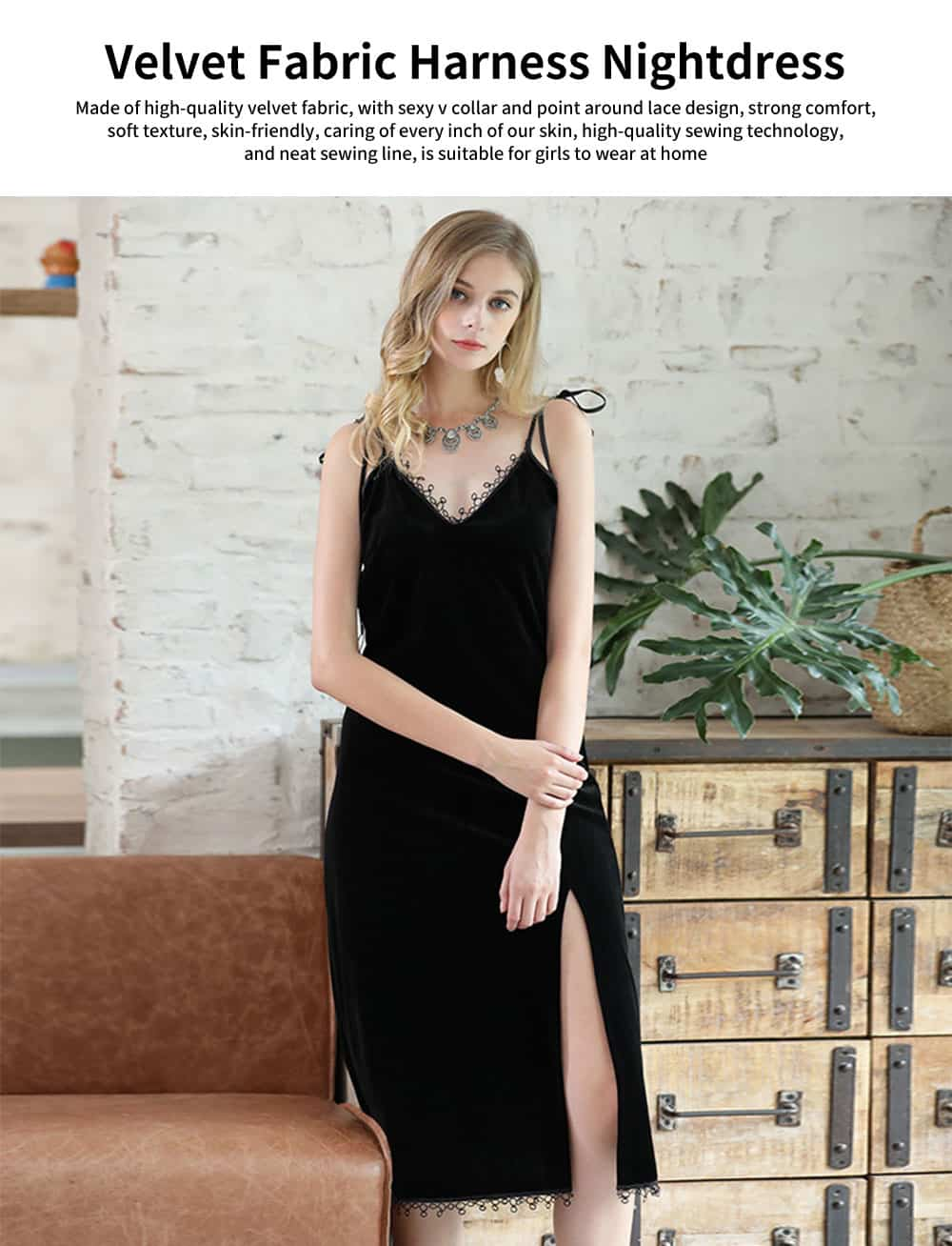 High-quality Velvet Fabric Harness Nightdress, Female Bare Back Sexy Lace V-neck Pajamas, with Shoulder Strap Design 0