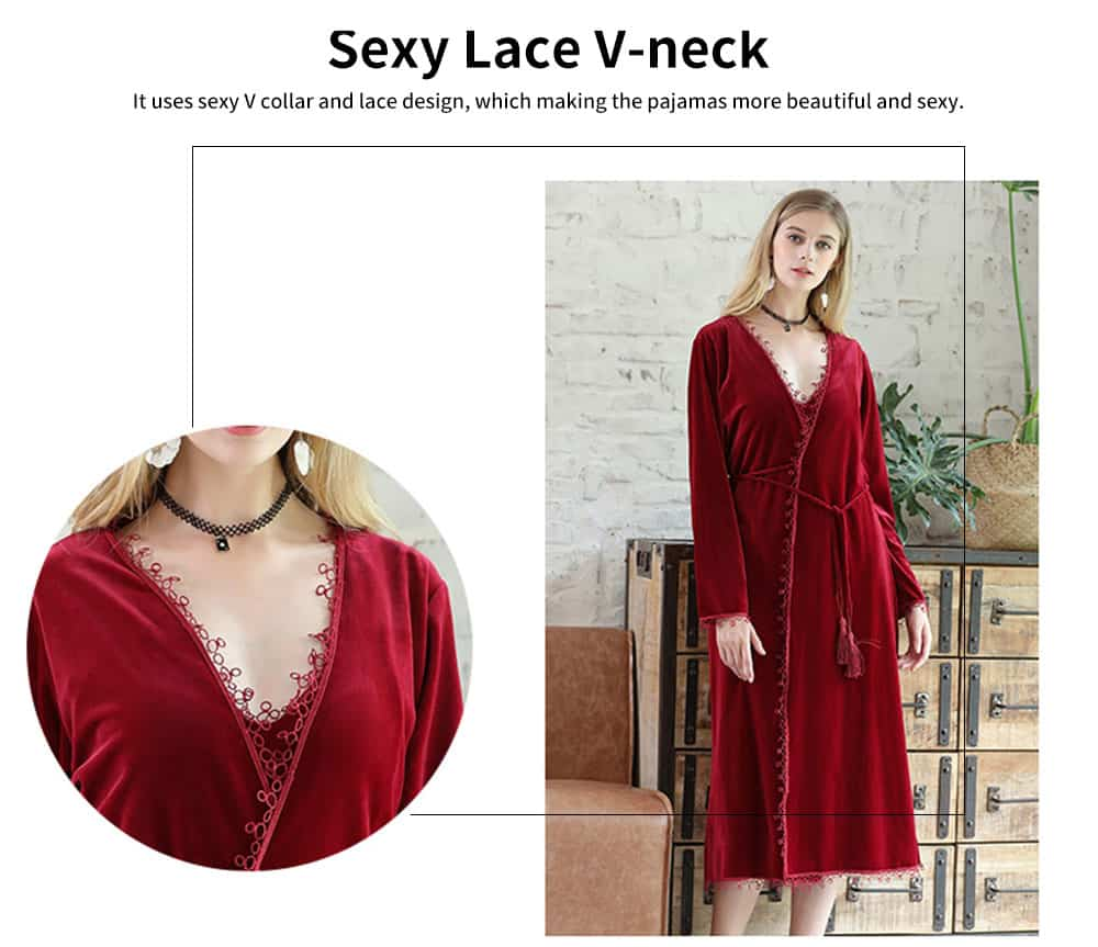 Soft Velvet Fabric Robe, Ladies Long Thick Pajamas, with Sexy V Collar and Point Around Lace Design 1
