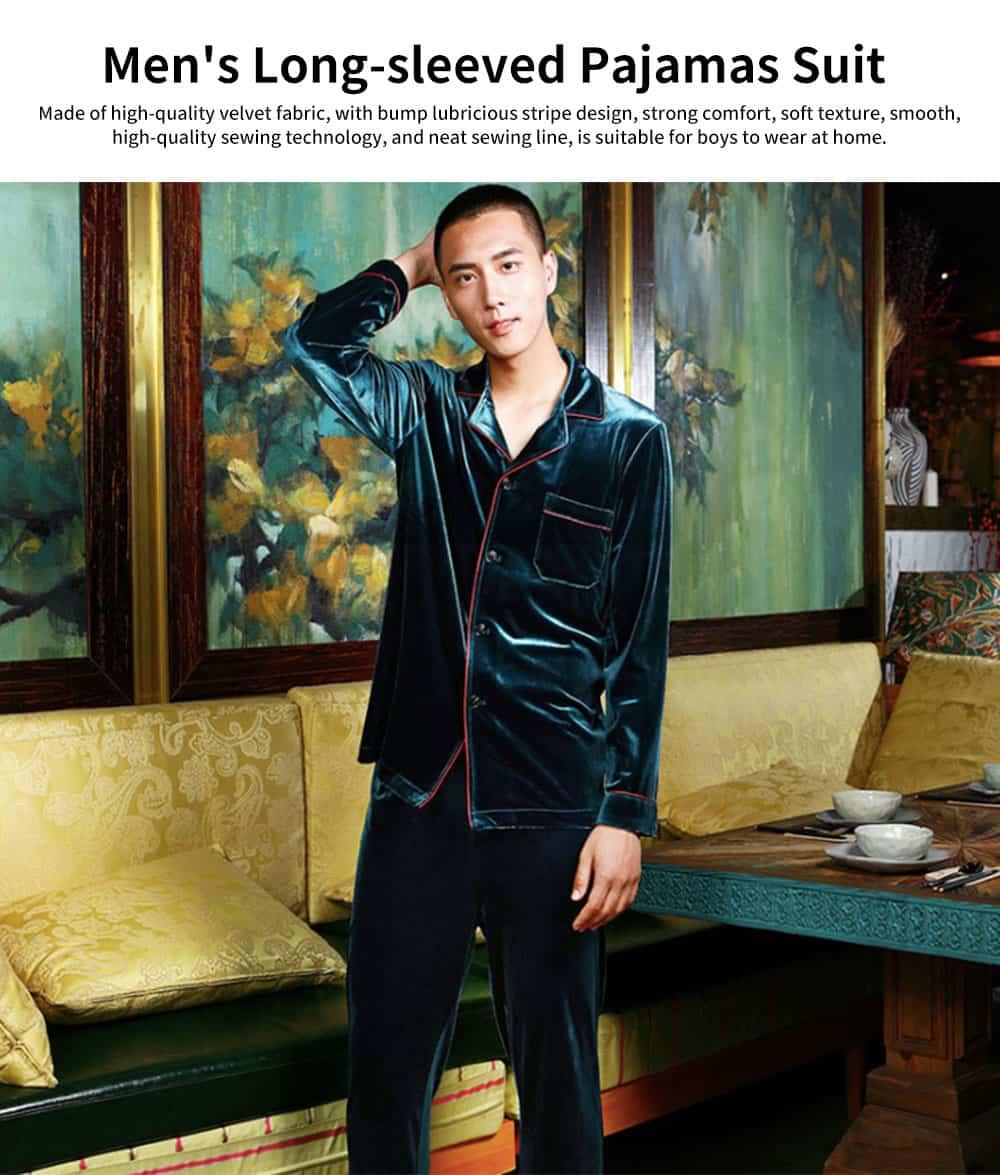 Men's Long-sleeved Pajamas Suit, Velvet Fabric Sleepwear for Men Two-piece Winter, Autumn 2019 0