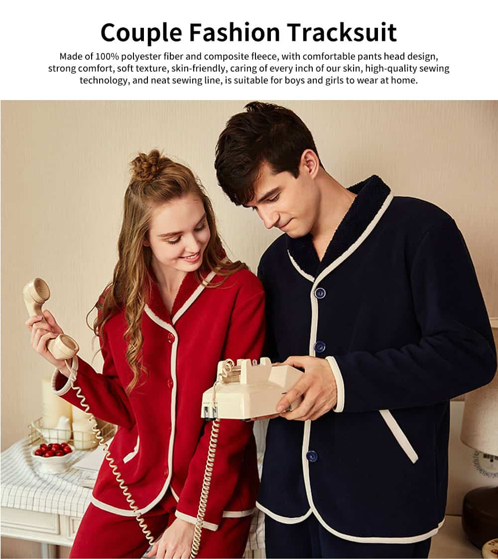 Couple Fashion Tracksuit, with Bilateral Pocket Design, Soft and Comfortable Lambskin Thickening Ladies Pajamas 0