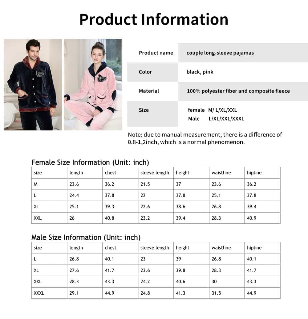 Flannel Fabric Classic Lapel Couple Pajamas, Soft and Comfortable Tracksuit Suit for Men and Women, Two-piece Suit 6