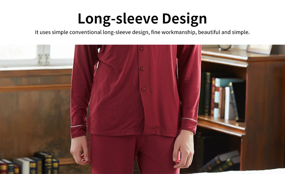 Knit Long-sleeved Pajamas for Men and Women, Soft Texture Cotton Tracksuitwith Bilateral Pocket Design 4