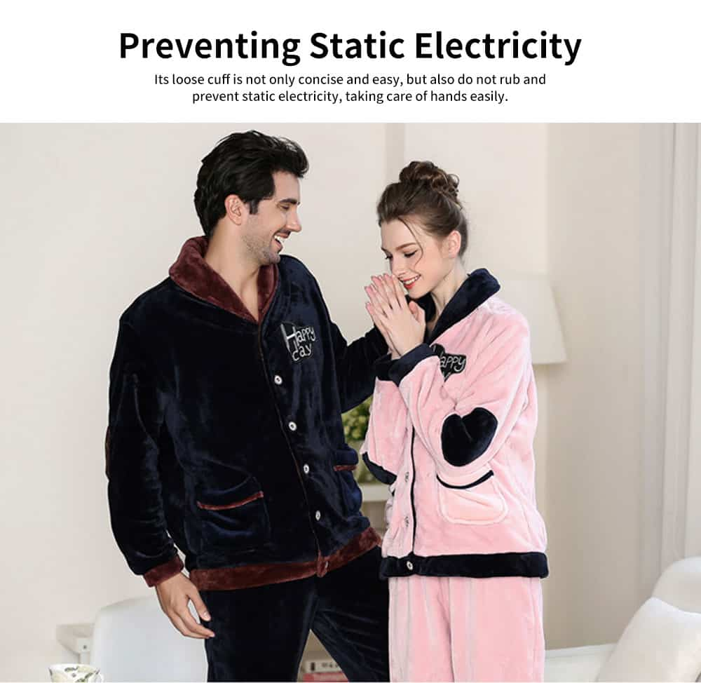 Flannel Fabric Classic Lapel Couple Pajamas, Soft and Comfortable Tracksuit Suit for Men and Women, Two-piece Suit 4