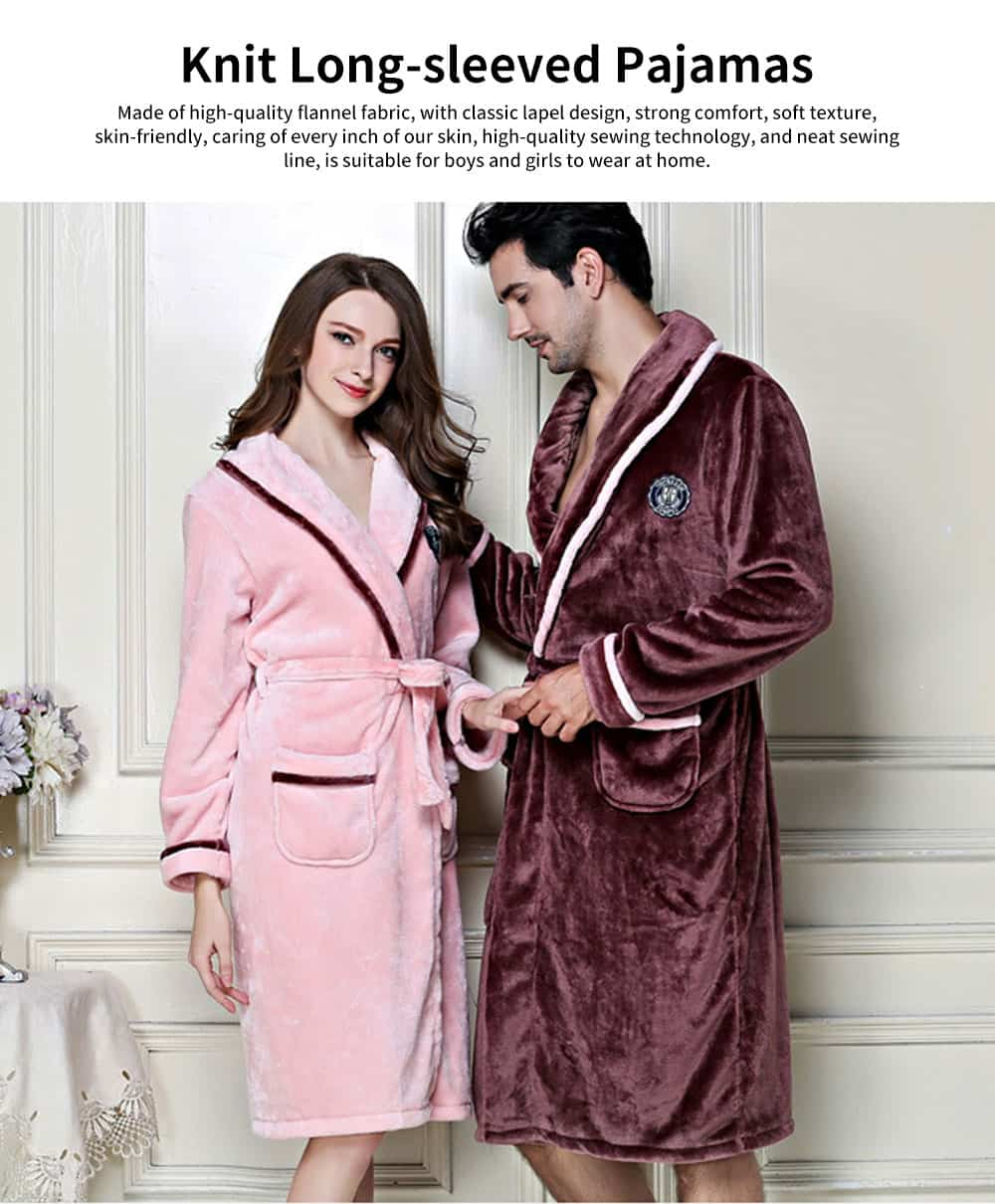 Thickened Long Men's Flannel Pajamas, Classic Lapel Couple Nightgown, with Bilateral Pocket Design 0