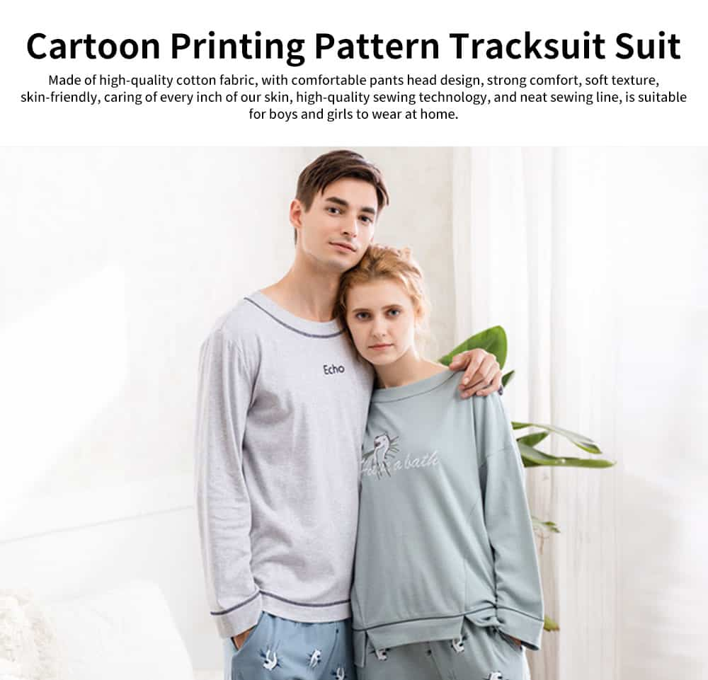Casual Comfortable Bamboo Cotton Couple Pajamas, Cartoon Printing Pattern Tracksuit Suit 0